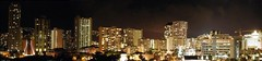 Panoramic night view from the right side of our hotel balcony (electricapples) Tags: city night hawaii waikiki oahu panoramic honolulu halekoa