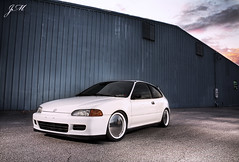 Andrew's Hatch (Justin M Morrison) Tags: blue sunset sky white building canon honda tampa mirror wheels ground headlights grill hatch clearwater xsi haters