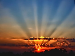 Sunbeams at Dawn (algo) Tags: uk morning trees light england sky sun clouds sunrise dawn topf50 topv333 europe chilterns topv222 rays algo topf100 sunbeams 100f specsky holidaysvacanzeurlaub searchthebestnew thechilternhiills