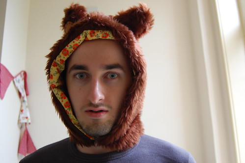 Tom's new bear hat