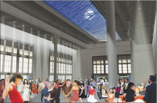 Instead of a marketplace, the Great Hall at the Battery Maritime Building will now become an arts and events space. (Courtesy Downtown Express)