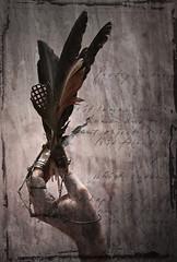 black angel (biancavanderwerf) Tags: dark paint industrial hand mechanical steel feathers veer mysterious glove bianca poeme dreamcatcher staal handschoen graphicmaster