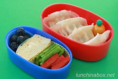 Potsticker and egg bento lunch for preschooler (Biggie*) Tags: kids children kid toddler child egg asparagus peppers tamagoyaki gyoza blueberries bellpepper packedlunch dumpling potsticker tamago schoollunch biggie brownbag preschooler lunchinabox redbellpepper sacklunch bentolunch bentoblog brownbaglunch japaneseegg ssbiggie lunchinaboxnet