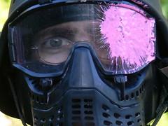 pink black eye dave glasses mask headshot paintball
