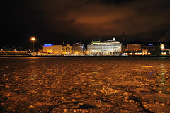 Golden Ice (dcbpix) Tags: city blue winter light sky snow ice night port season geotagged neon glow nightshot crystal capital scenic balticsea romantic neonsign gps geotag soe sights seaport gulfoffinland blueribbonwinner suomenlahti packice inspiredbylove driftice mywinners platinumphoto flickrdiamond goldenice dcbpix suomelaht