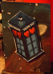 TARDIS of Love (Sneddonia) Tags: uk blue red hearts handmade painted valentine doctorwho tardis geeklove valentinescard sneddonia