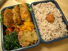 Pork/cheese/shiso katsu bento (skamegu) Tags: food apple japan cheese tomato fry rice sesame pork bento japanesefood spinach shiso katsu   umeboshi