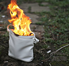imagebank #1: Anticapitalist (ludwig van standard lamp) Tags: colour fire arty stock burning creativecommons handbag stockphoto imagebank anticapitalist