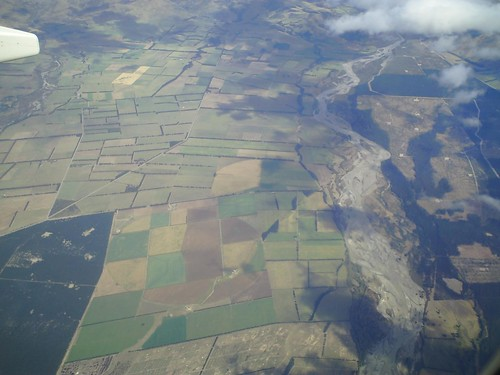 Canterbury Plains approaching Christchurch, New Zealand