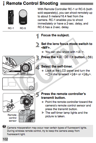 Remote Control Shooting, as described on page 102 of the Canon 5D Mark II manual