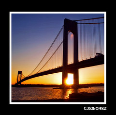 Sunset under the bridge (NYC sharpshooter) Tags: bridge sun love water colors by brooklyn island nikon perfect soft ray glow photographer pics inspired bridges vivid sunsets romantic nights staten 1001 the verrazano goldenglobe d80 i abigfave flickrestrellas qualitypixels