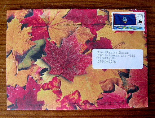 handmade autumn leaves envelope