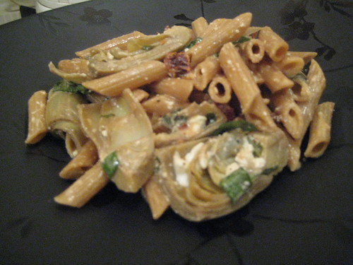 Pasta with Sundried Tomatoes and Artichoke Hearts