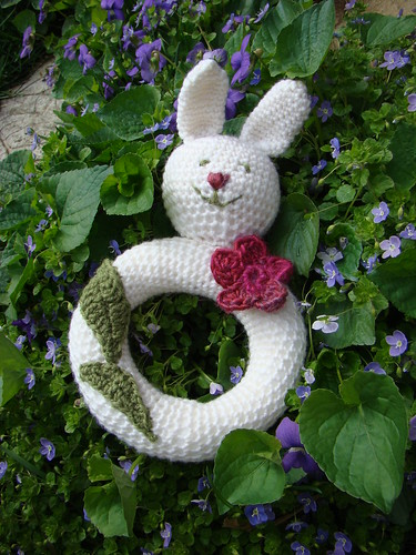 crocheted Bunny rattle