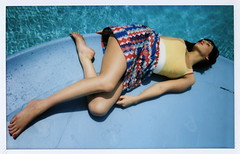 by the pool (Let'sExplode) Tags: red pool girl polaroid skirt lips instax fugi