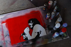 Eyedea Stencil (theotherchristianlundberg) Tags: red white streetart black graffiti stencil nikon dj oliver minneapolis hart spraypaint twincities ea fifthelement abilities d80 eyedea