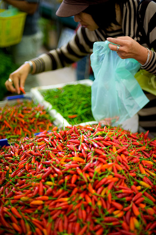 Buying chilies at Melbourne's Footscray Market