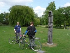observers (estherase) Tags: emssimp findleastinteresting walthamabbey bikeride mat brother friend jon noj nojjohnson monk cowl hood publicart statue bike bicycle park 250311 friends