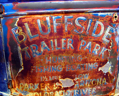 Bluffside Trailer Park (avilon_music) Tags: arizona signs sign truck vintage rust rusty olympus rusted weathered trailerpark corroded oldsigns colorphotoaward markpeacockphotography avilonmusic
