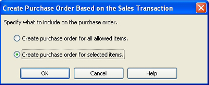 Create PO from all or selected items