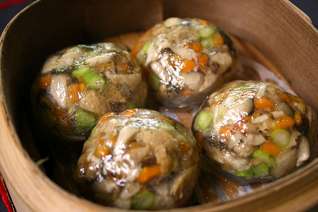Truffled Essence Crystal Dumplings stuffed with Assorted Fresh Mushrooms