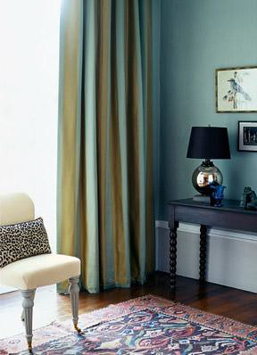 Blue living room + blue-green striped curtains + animal print