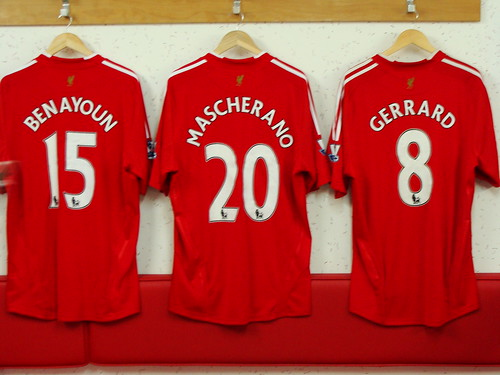 Liverpool FC midfielder shirts: Yossi Benayoun, Javier Mascherano and Steven Gerrard