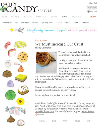 My article for DailyCandy on Cutie Pies!