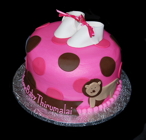 pink and brown jungle themed baby shower cake with elephant and lion second image