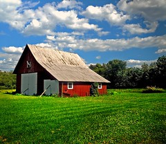 A sunny June day in the midwest (Amy V. Miller) Tags: blue trees red summer sky green grass clouds barn landscape midwest day shot farm awesome indiana an concordians artofimages bestcapturesaoi heritage2011
