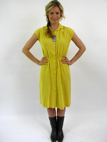 VINTAGE 70s PRETTY LINEN DRESS