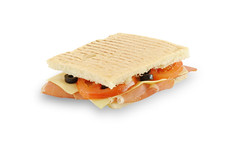 Proscuto sandwich (Luka Cerar) Tags: food white vegetables closeup cheese bread tomatoes olive tasty ham sandwich foodporn studioshot gouda hrana bazilikasendvi