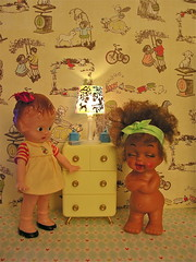 An Instance of Incandescent Indecent Exposure (Hitty Evie) Tags: vintage toy miniature doll plastic rement knickerbocker