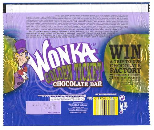 2001 Wonka Golden Ticket Chocolate Bar Wrapper Uk A Photo