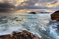 Sea and Storm - Point Lobos, California (PatrickSmithPhotography) Tags: california travel sunset sea wallpaper vacation sky usa seascape beach nature rock canon landscape monterey interestingness bigsur wave carmel pebblebeach 5d pacificgrove mussel asilomar pointlobos mkii 1740l canon5dmkii 5dmarkii 5dmkii 5dmk2 5dmark2