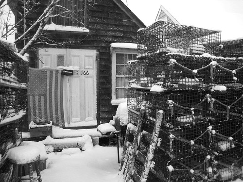Lobster Shed and Traps in b&w