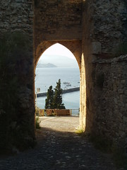 Doorway to the gulf (Gregelope) Tags: trees sea colour nature beautiful stone architecture earth textures views doorways ellada