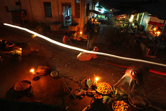 Night market - Badami (streetcorner) Tags: city food moon india vegetables shop bulb night fire candle village market dusk good indian fullmoon motorbike vehicle moonlight karnataka trade firefly seller badami sellers oillamp