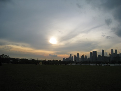 the view from the Marina Barrage