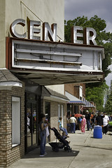 CEN ER THEATER (NC Cigany) Tags: sky water sign festival museum marquee theater waterfront decay wwii gray navy nostalgia movies battleship mayberry marquees capefearriver funfanphotos mtolivenc ncpicklefest