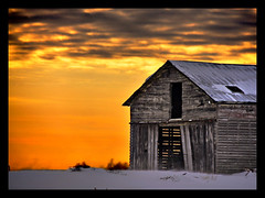 The Barn (Robert Myer) Tags: winter sky orange snow yellow clouds barn rural geotagged twilight decay hdr blowingsnow drifting fallingdown flickrlover inspiredbylove nikond90