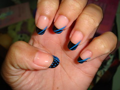 Black & Blue French Tip (BlueBerryBlossom) Tags: art french nail tip