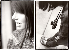 civica (hweeeeeee) Tags: portrait film girl analog blackwhite diptych dof lol hipster hc110 indie annie hp5 fullframe nikonf3 anneliese warmtone civica nocropping lawl 50mmf18af autaut sloppyprint kindagirlfriendsortaboyfriend roughborders