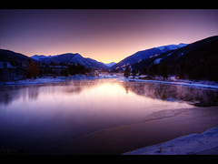 Sunrise in Keystone (Kaj Bjurman) Tags: pink winter usa lake mountains america sunrise eos colorado keystone hdr kaj cs4 photomatix 40d bjurman wonderfullyprocessed