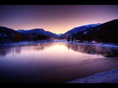 Sunrise in Keystone (Kaj Bjurman) Tags: pink winter usa lake mountains america sunrise eos colorado keystone hdr kaj cs4 photomatix 40d bjurman wonderfullyprocessed