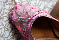 The Bridesmaids - 'Belly Dancing' Shoes, Khussa IV (nettness) Tags: pink roses leaves shoe beads shoes flat embroidery 8 fuschia flats footwear ribbon sole soles embroidered embellished bellydancing beading slipon khussa jutti mojri