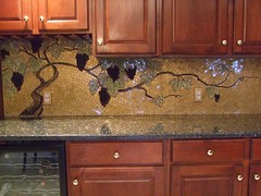 """Vineyard Gold"" (lori.d (Lori Desormeaux)) Tags: kitchen project mosaic grapes grapevine backsplash glassmosaic explore2 mosaicbacksplash loridesormeaux 725ftx24in backsplashmosaic"