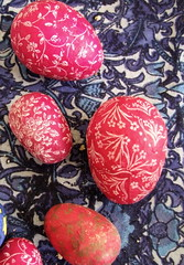 Perma-eggs for Palm sunday too (Lalallallala) Tags: home floral finland easter helsinki pattern egg indoors decoupage