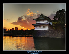 Imperial Palace, Japan sunset (Suvrangshu) Tags: sunset reflection castle water japan stone wall photography tokyo olympus palace imperial suv edo moats ghosh suvrangshu