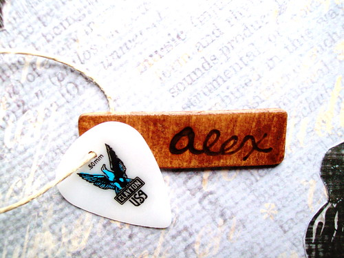 Guitar Pick and Wood Charm Necklace